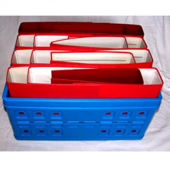Büro - Ablage & Archiv - Klappbox blau, Ordner rot