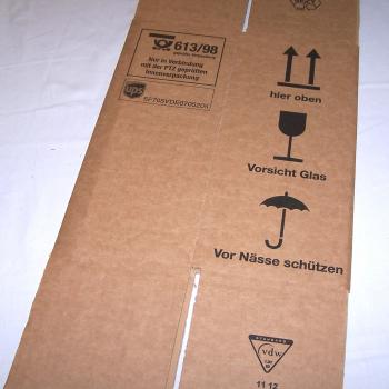 Versand - Karton für 1 Flasche mit Schutzeinsatz - Karton ungefaltet