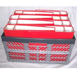 Büro - Ablage & Archiv - Klappbox grau, Ordner rot