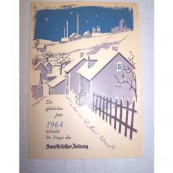 Werbung - Flugblatt zum Jahreswechsel 1963/64 vom Austräger der Saarbrücker Zeitung