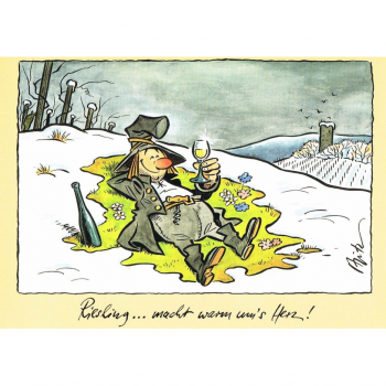 Versand - Comics - Michael Apitz Rheingauner-Postkarten - Riesling ... macht warm um's Herz