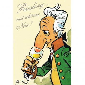 Versand - Comics - Michael Apitz Rheingauner-Postkarten - Riesling ... mit schöner Nase
