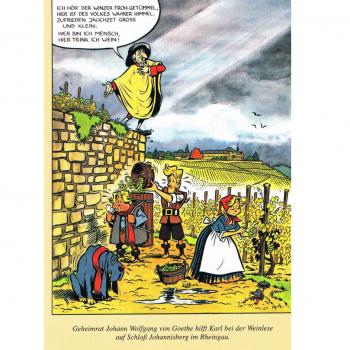 Versand - Comics - Michael Apitz - KARL-Postkarten - Goethe hilft KARL bei der Weinlese