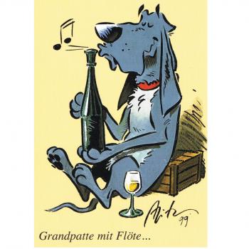 Versand - Comics - Michael Apitz - KARL-Postkarten - Grandpatte mit Flöte