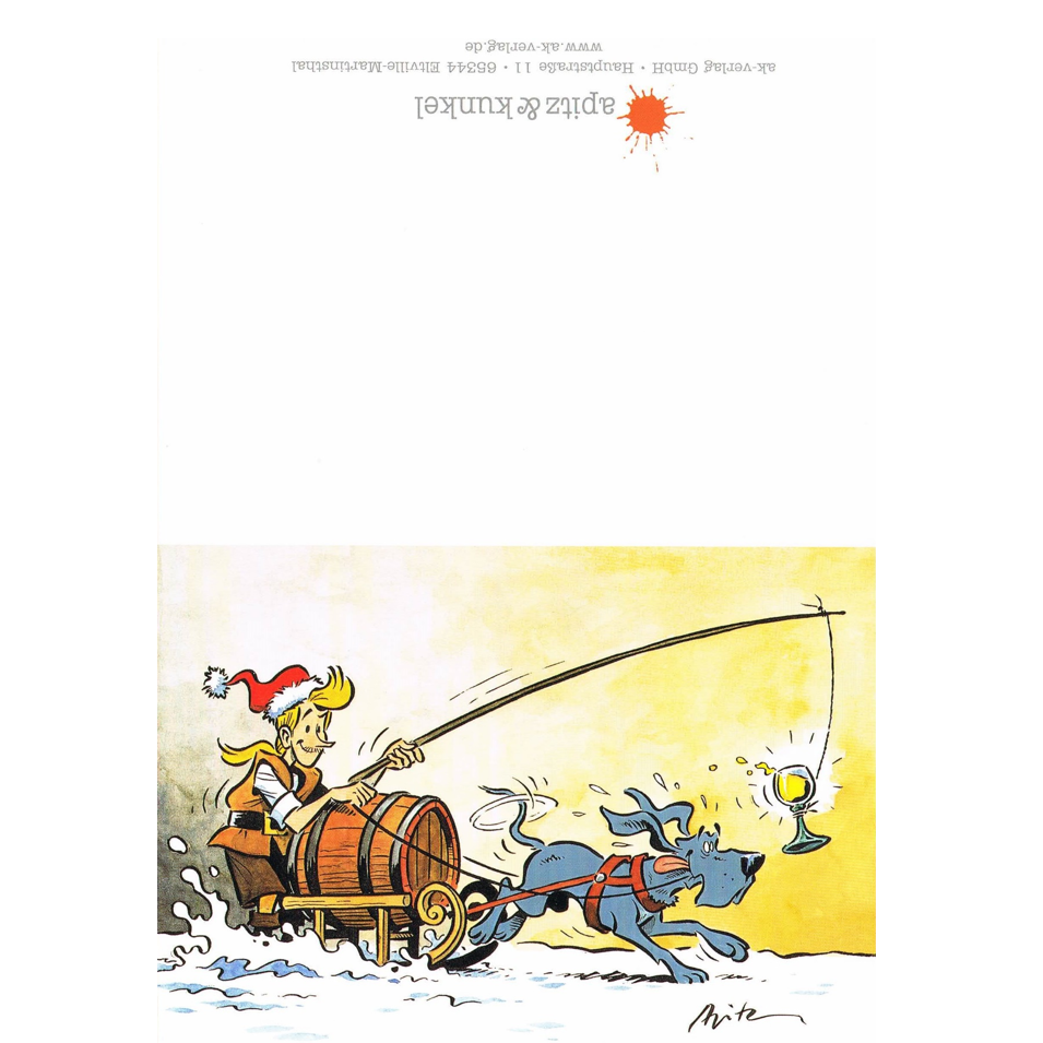 Versand - Comics - Michael Apitz - KARL-Postkarten - Klappkarte KARL, Grandpatte, Eiswein