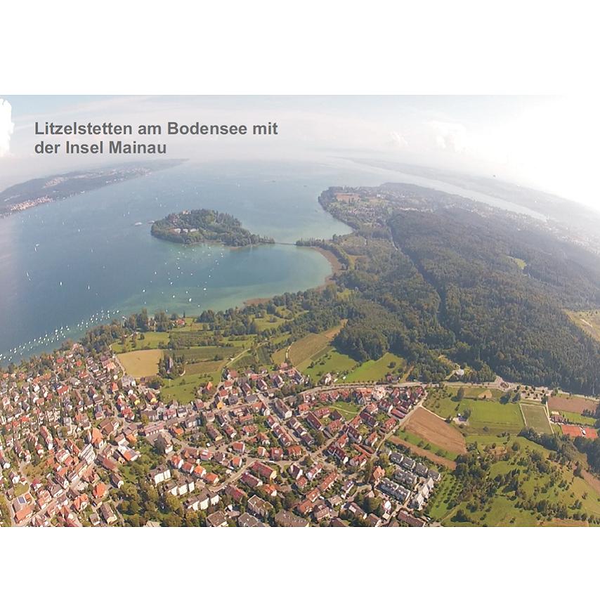 Souvenirs - Ansichtskarte Litzelstetten mit Insel Mainau