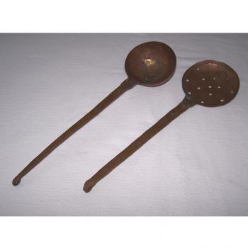 Haushalt - kochen & Backen - servieren - Kuperkelle und -sieb ca 32 cm lang
