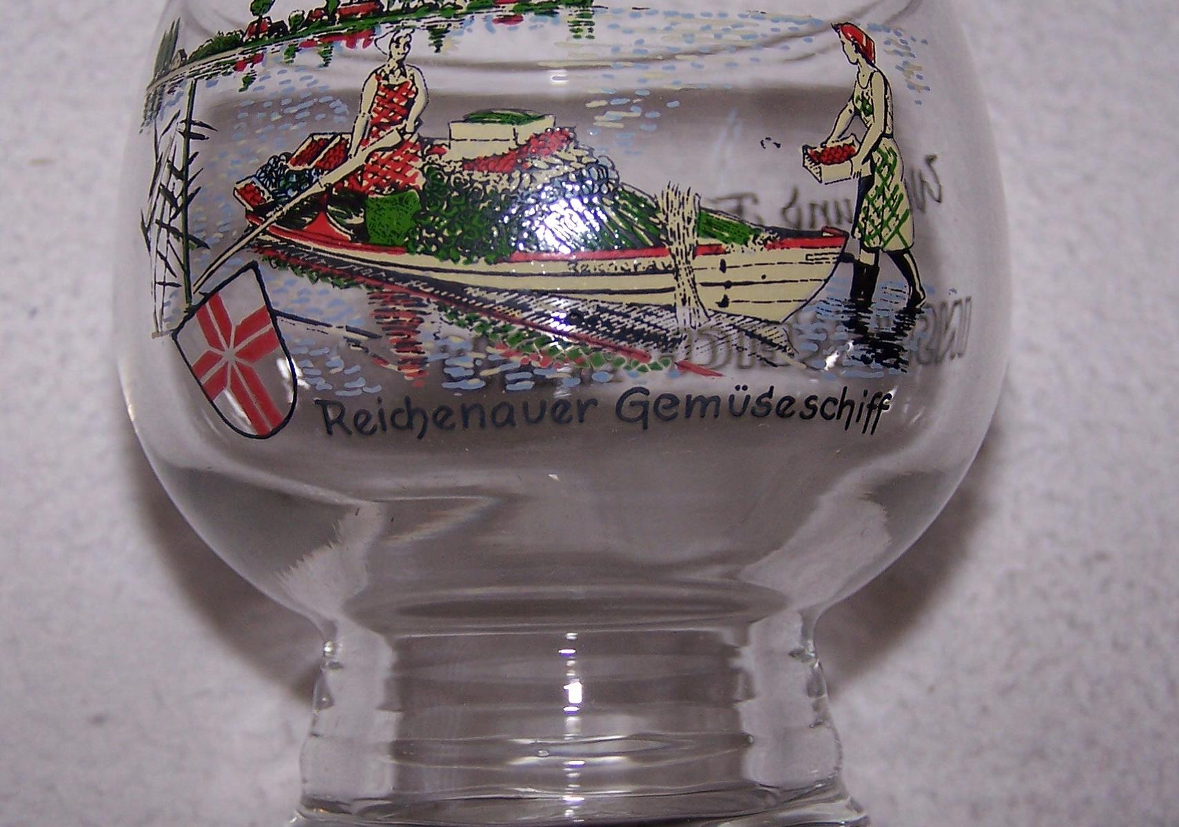 Haushalt - servieren - Souvenir - Weinfestglas - Insel Reichenau - Kugelbecherglas