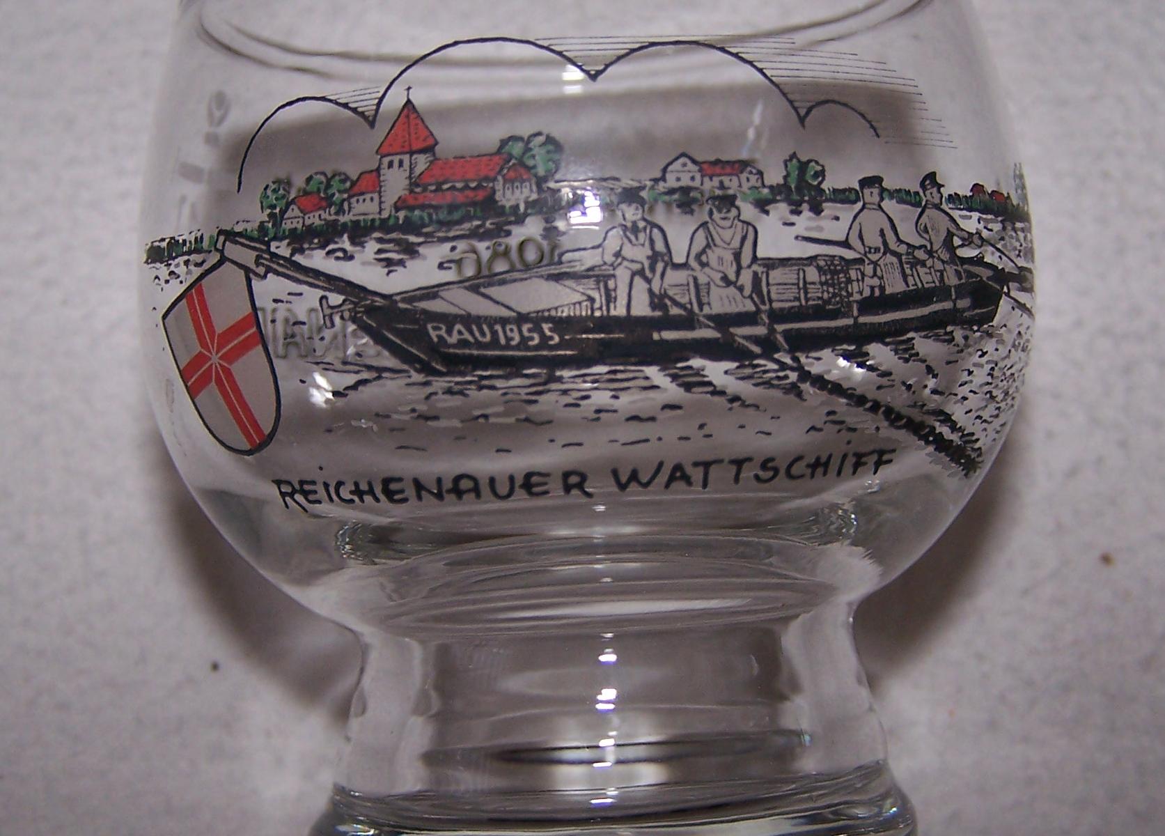 Haushalt - servieren - Souvenirs - Weinglas - Insel Reichenau - Reichenauer Wattschiff