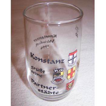 Haushalt - servieren - Souvenirs - Weinfestglas - Konstanzer Weinfest - 1994 Partnerstädte