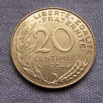 Hobby - Münzen - Frankreich - 20 Centimes - 1994 - Avers