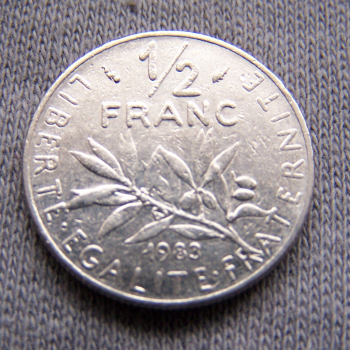 Hobby - Münzen - Frankreich - 1/2 Franc - 1983 - Avers