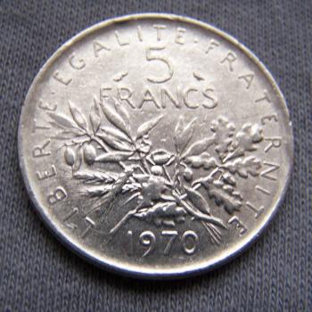 Hobby - Münzen - Frankreich - 5 Francs - 1970 - Avers