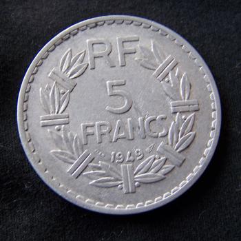 Hobby - Münzen - Frankreich - 5 Francs - 1949 - Avers