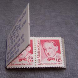 Hobby - Briefmarken - USA - berühmte Amerikaner - Heftchen geöffnet