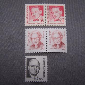 Hobby - Briefmarken - USA - berühmte Amerikaner - Marken