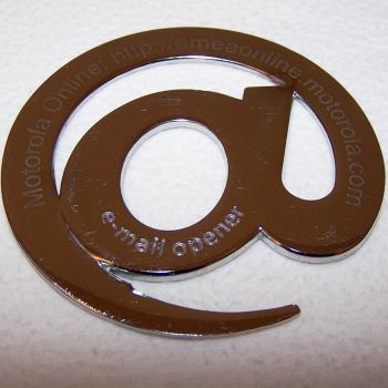 Werbung - Motorola Online - E-Mail Brieföffner aus Metall - Lasergravur