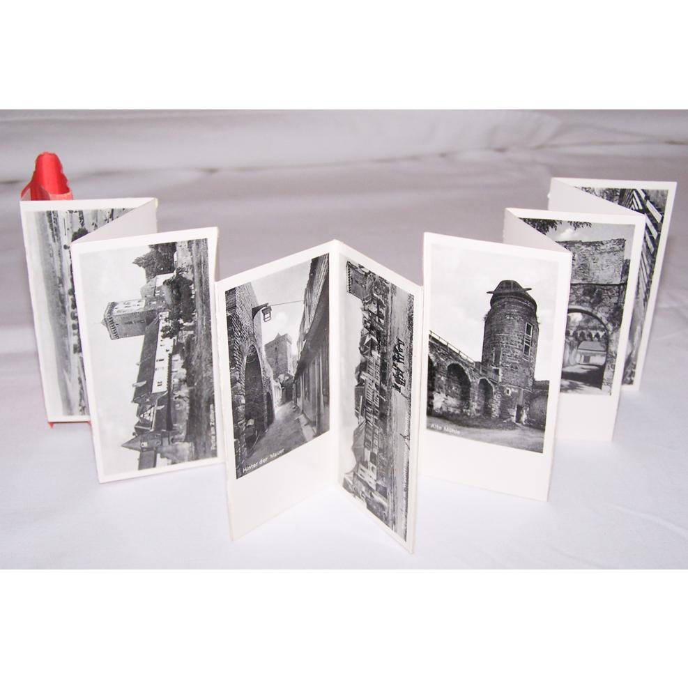Souvenirs - Minifoto-Leporello von Zons am Rhein - aufgeklappt