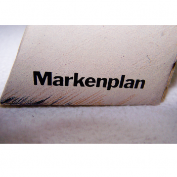 Werbung - Tischuhr aus Pappkarton - Markenplan