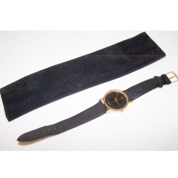Schmuck - Uhren - Armbanduhr - Lederband - schwarz, goldfarbenes Gehäuse, Stundenarkierungen - mit Etui