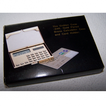 Büro - Bürowerkzeuge - Solartaschenrechner im 24K vergoldeen Kartenetui - originalverpackt