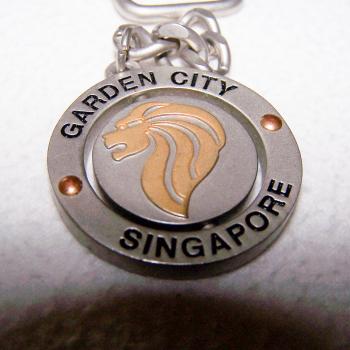 Haushalt - Sicherheit - Schlüsselanhänger - Singapur - Motiv Garden City mit Löwenkopf