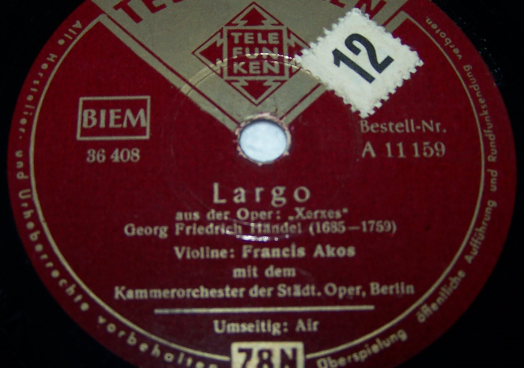 Audio-Video-Photo - Tonträger - Schellackplatten - Largo