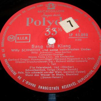 Audio-Video-Photo Tonträger - Langspielplatten - Willy Schneider - Sang und Klang - Seite 1