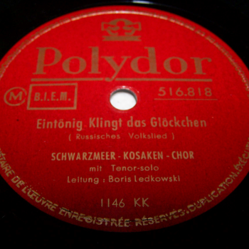 Audio-Video-Photo Tonträger - Schellackplatten - Schwarzmeer-Kosaken-Chor - Eintönig klingt das Glöckchen