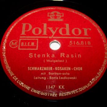 Audio-Video-Photo Tonträger - Schellackplatten - Schwarzmeer-Kosaken-Chor - Stenka Rasin