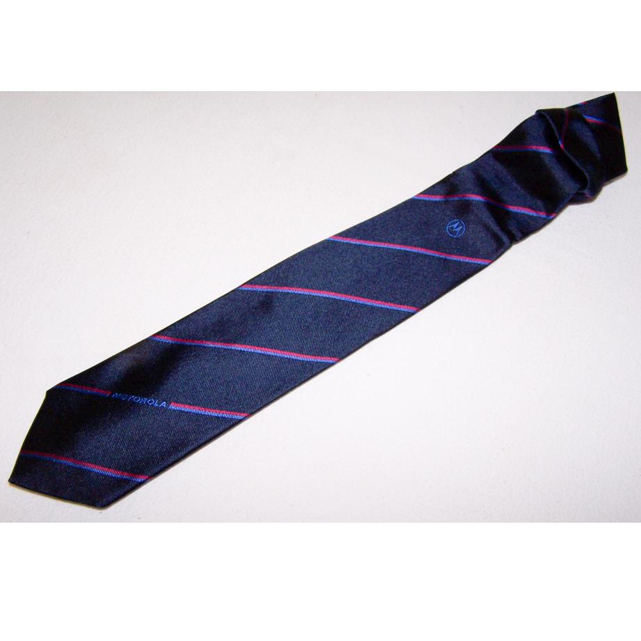 Bekleidung - Krawatten - schwarz mit rot/blauen Streifen und Motorola-Schriftzug - offen