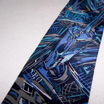 Bekleidung - Krawatten - schwarz/weiß/blaues Graffiti mit Funkgeräten - Detailmuster