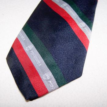 Bekleidung - Krawatten - schwarz mit rot/silber/grünen Streifen mit Motorola-Logo - Musterdetail