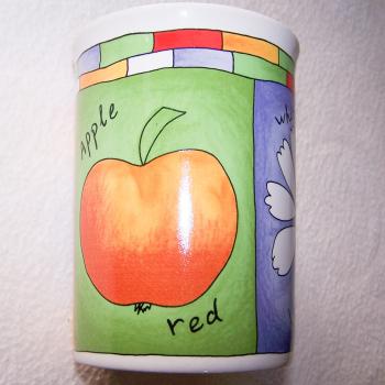 Haushalt - servieren - Geschirr - Kaffee-/Tee-/Milchbecher - 3er Set Blüten-Obst - Apfel