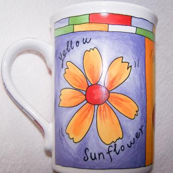 Haushalt - servieren - Geschirr - Kaffee-/Tee-/Milchbecher - 3er Set Blüten-Obst - Sonnenblume
