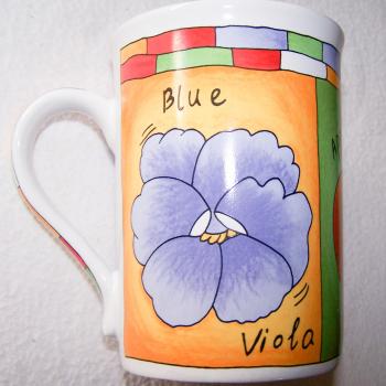 Haushalt - servieren - Geschirr - Kaffee-/Tee-/Milchbecher - 3er Set Blüten-Obst - Enzian