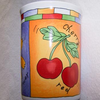 Haushalt - servieren - Geschirr - Kaffee-/Tee-/Milchbecher - 3er Set Blüten-Obst - Kirschen