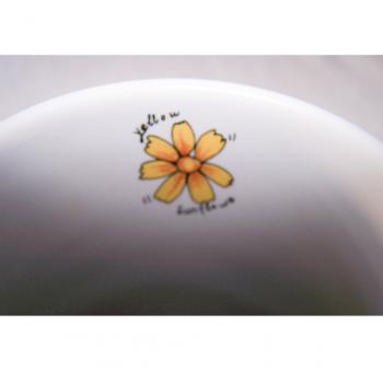 Haushalt - servieren - Geschirr - Kaffee-/Tee-/Milchbecher - 3er Set Blüten-Obst - Sonnenblume innen