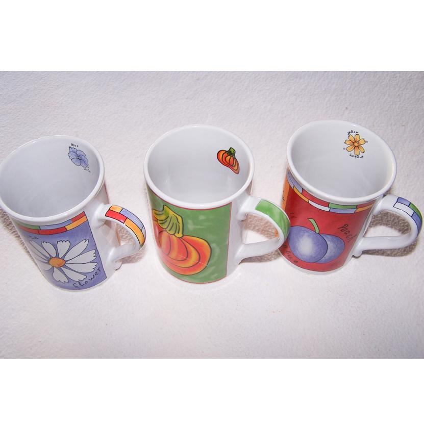 Haushalt - servieren - Geschirr - Kaffee-/Tee-/Milchbecher - 3er Set Blüten-Obst