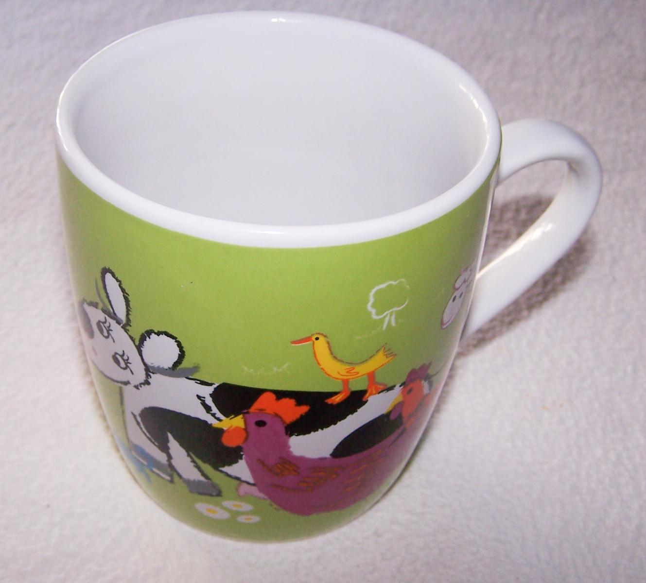 Haushalt - servieren - Geschirr - Kaffee-/Tee-/Milchbecher - Bauernhof-Tiere