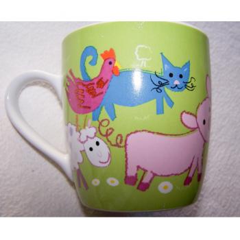 Haushalt - servieren - Geschirr - Kaffee-/Tee-/Milchbecher - Bauernhof-Tiere - Katze