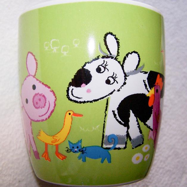 Haushalt - servieren - Geschirr - Kaffee-/Tee-/Milchbecher - Bauernhof-Tiere - Kuh
