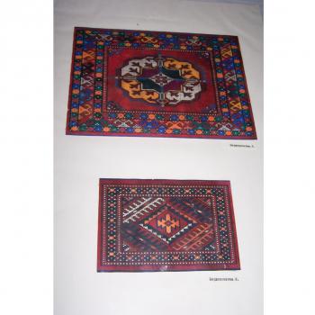 Kunst - Kinderkunstschule Ashgabat Turkmenistan - zwei Teppichzeichnungen in Farbe