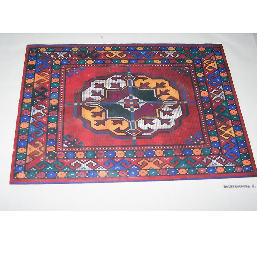 Kunst - Kinderkunstschule Ashgabat Turkmenistan - erste Teppichzeichnung in Farbe