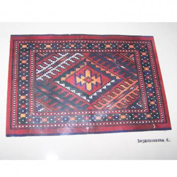 Kunst - Kinderkunstschule Ashgabat Turkmenistan - zweite Teppichzeichnung in Farbe