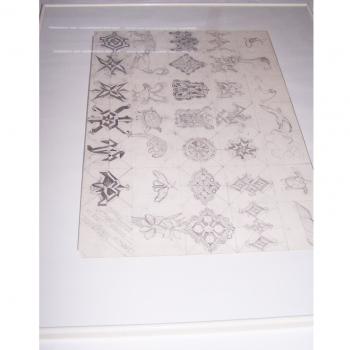 Kunst - Kinderkunstschule Ashgabat Turkmenistan - Bleistiftzeichnungen einzelner Symbole für Teppichmuster