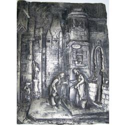 """Kunst - Zinn-Wandrelief - Carl Spitzweg Motiv """"Der ewige Hochzeiter"""""""
