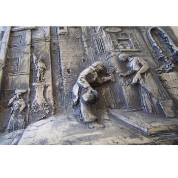 """Kunst - Zinn-Wandrelief - Carl Spitzweg Motiv """"Der ewige Hochzeiter"""" - Paar"""