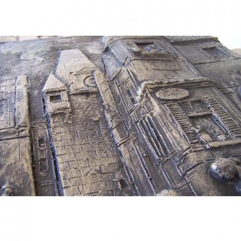 """Kunst - Zinn-Wandrelief - Carl Spitzweg Motiv """"Der ewige Hochzeiter"""" - Gebäude"""
