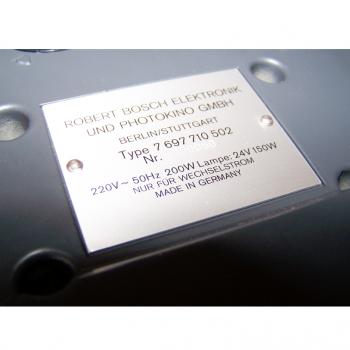 Audio-Video-Photo - Diaprojektor Bauer S 3 automat - Typenschild